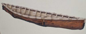 An acrylic painting of an elm bark canoe