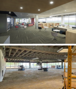 Above, a rendering shows the designed common space for students that outlooks the fountains outside the C building. Below, the progress of where the space will be built is displayed.