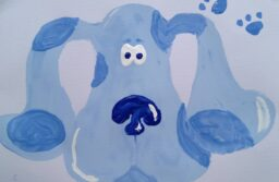 a painting of Blue from Blue's Clues