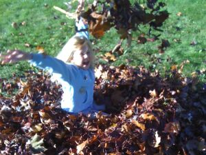 A child plays in leaves